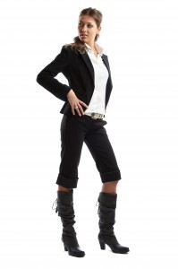 Great looking blond business woman shot in studio - looking right